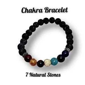 Chakra Slip-on Bracelet w/7 Natural Stones